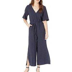 Moon River Pinstripe Jumpsuit Short Sleeves Blue